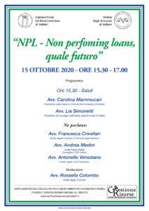 Non performing loans, quale futuro? Velletri 15/10/2020
